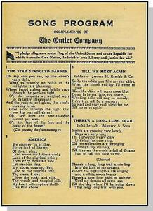Vintage WJAR-Outlet Company Song Program, Providence, Rho...