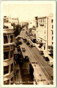 HONOLULU Hawaii RPPC Real Photo Postcard KING STREET KH Photo c1930s *CREASED