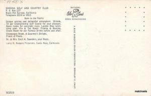 1950s Sonoma Golf Country Boyles Hot Springs California Roberts postcard 536