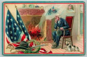 Patriotic Decoration Day~Civil War Vet & Dog by Fireplace~Battles in Smoke~TUCK