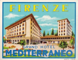 Italy Firenze Grand Hotel Mediterraneo Vintage Luggage Label lbl0579