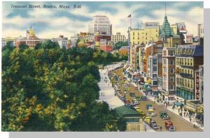 Striking Boston, Mass/MA Postcard, Tremont Street, 1940's?