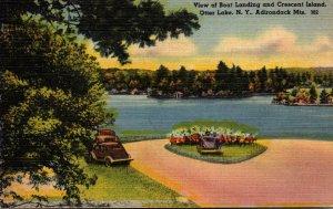 New York Adirondacks Otter Lake View Of Boat Landing and Crescent Island