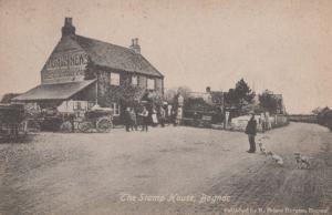 Dogs & Bicycle s outside The Stamp House Bognor Antique Welsh Postcard
