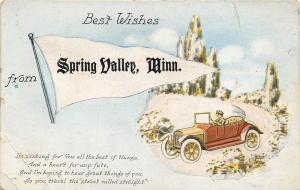 Best Wishes from Spring Valley Minnesota~Vintage Auto~Straight Street~1912