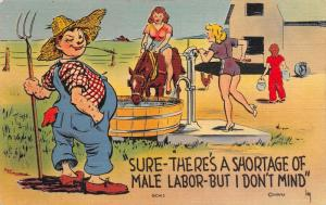 Irby WWII Farm Comic~Shortage of Labor~I Don't Mind~Farmer With Girl Hands~Linen