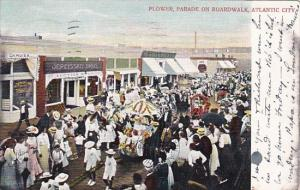 New Jersey Atlantic City Flower Parade On Boardwalk 1905