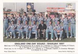 England in Sharjah 1997 One Day Squad International Team Cricket Postcard