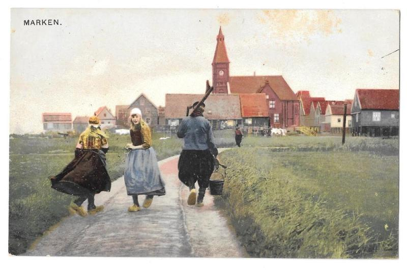 Netherlands Holland Marken Girls Dutch Dress Town Postcard