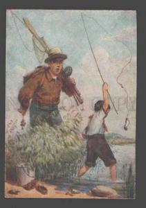 087475 Pioneer SCOUT Fisherman by Golovastov Old colorful PC