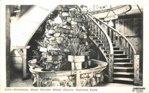 1940s Glacier Hotel Interior Fountain Park Montana Hileman RPPC real photo 7299
