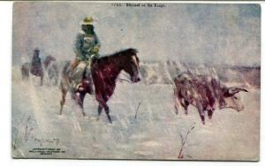 Cowboy Cattle Drive Blizzard On The Range artist F W Schultz 1910c postcard