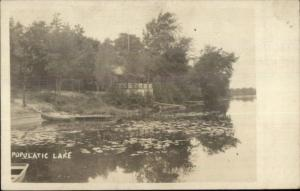 Medway MA Cottage on Popolatic Lake c1915 Real Photo Postcard