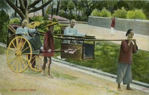 china, Native Men Carry Man, Sedan Chair (1910s) Postcard