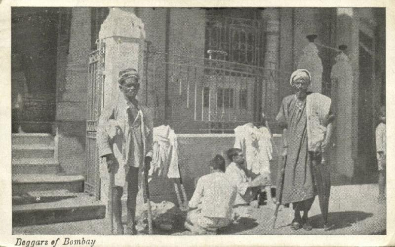 india, BOMBAY, Group of Native Beggars (1945) U.S. Army Postal Service
