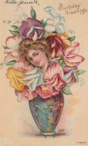 BIRTHDAY Greetings, 1901-07; Vase of flowers with woman's head in middle