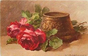 Artist Signed Catherine Klein Postcard; St.Z.F. 1260 Red Roses & Golden Bowl