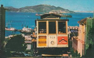 California San Francisco Cable Car On San Francisco Hill