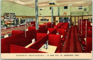 Vintage 1940s Mansfield, Ohio Postcard PARKWAY RESTAURANT Curteich Linen Unused