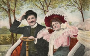 Vintage Postcard 1909 Happy Time For Couple Man and Woman Lovers Artwork