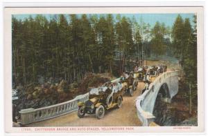 Auto Touring Cars Chittenden Bridge Yellowstone National Park Wyoming postcard