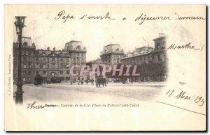 Old Postcard Paris Barracks Cite place du Parvis Notre Dame