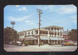OCEAN GROVE NEW JERSEY QUAKER INN OLD CARS WOODY WAGON VINTAGE POSTCARD