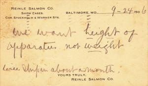 Request for Information, Reinle Salmon Co. Show Cases, Baltimore, Maryland 1906