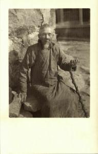 china, Old Native Chinese Man (1920s) Ingenohl's Real Photo Postcard