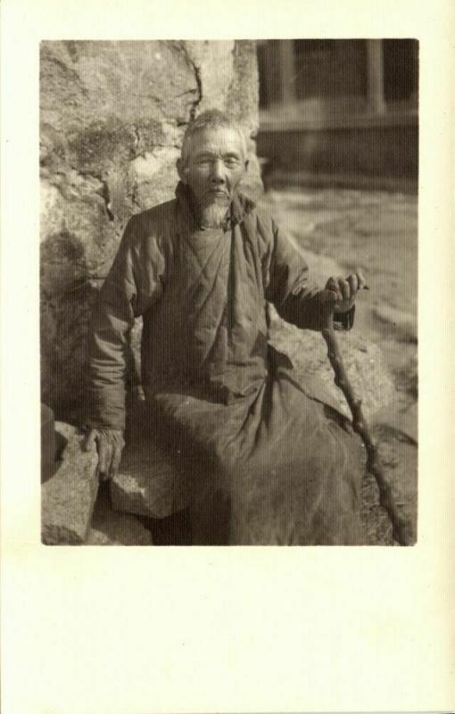 china, Old Native Chinese Man (1920s) Ingenohl's Real Photo Postcard