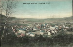 Colebrook NH Birdseye View c1910 Hand Colored Postcard
