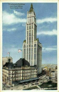 New York City Woolworth Building and Post Office Postcard