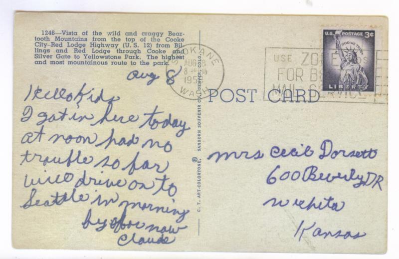 Spokane, Washington to Wichita, Kansas 1958 used linen PC, Beartooth Mountains