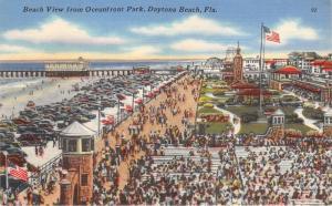 Daytona Beach Florida~Oceanfront Park Bird's Eye View~Pier~Tower & Flag~1940s Pc