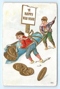 Postcard Happy New Years Boys Rolling Large Roll of Gold Coins 1908  J15