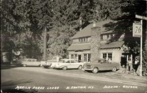 Idanha OR Marion Forks Lodge Cars & Trucks Real Photo Postcard