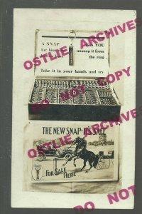RPPC c1910 ADVERTISING Reins HARNESS SNAP Bridle Tack GENERAL STORE DISPLAY