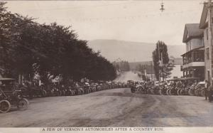 RP: VERNON , B.C. , Canada , 1907 ; Auto Rally on Main Street (After Run)