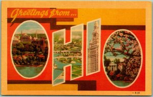 1940s Greetings from OHIO Large Letter Postcard DEXTER Linen #D-30 - Unused
