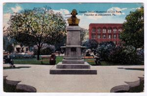1917 Founder of Johnstown PA Joseph Johns Memorial In City Park RARE DB Postcard