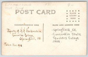 Springfield IL~Concordia State Teachers College~Young Men~Fleckenstein~1908 RPPC