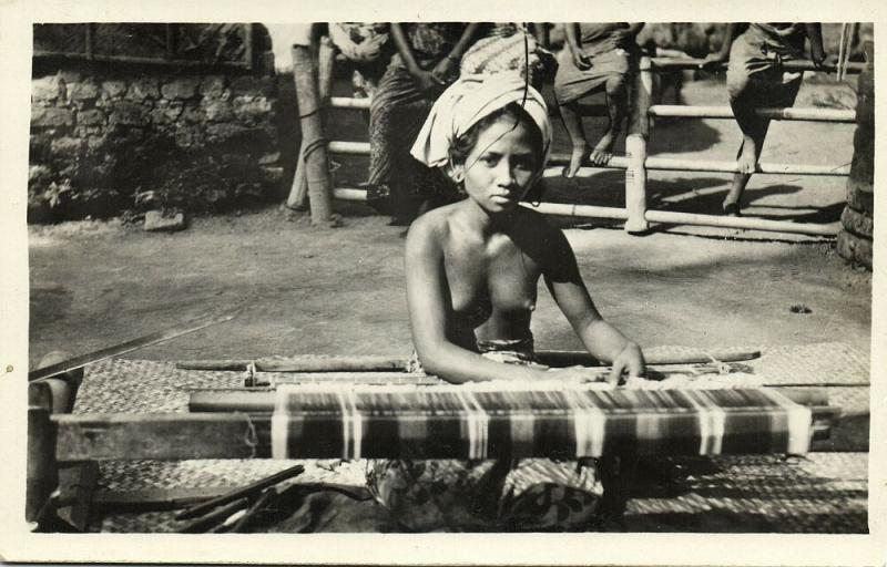 indonesia, BALI, Native Topless Nude Woman Weaving (1920s) RPPC