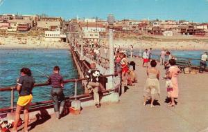 Manhattan Beach California visitors fishing Pleasure Pier vintage pc ZA440485