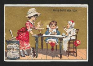 VICTORIAN TRADE CARD Anglo-Swiss Milk Food Kids at the Table