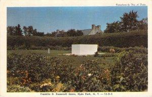 Franklin D Roosevelt Grave Hyde Park NY Postcard Unused Dexter Kodachrome
