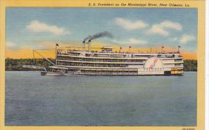 S S President On The Mississippi River New Orleans Louisiana Curteich