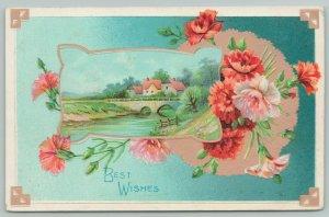 Flowers Greetings~ Orange and White Carnations~Village Portal~c1910 Postcard