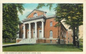 Akron Ohio~First Church of Christ Scientist~2 Story Pillars~Building Behind~1920