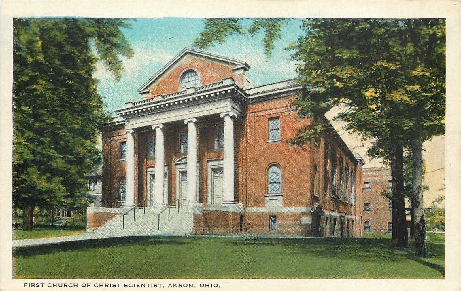 Akron Ohio~First Church of Christ Scientist~2 Story Pillars~Building