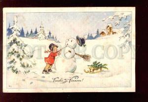 028690 Girl w/ Charming SNOWMAN. Vintage color PC